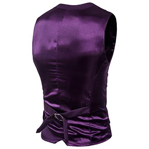 ... HerZii Herrenmode Slim Fit 3-teilige Business Suit Blazer Jacke & Hose  Lila ...