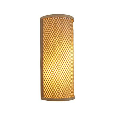 Titular de la lámpara de pared de bambú hecha a mano moderna lámpara de pared de la lámpara E27...