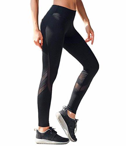 FITTOO Damen Patch-Mesh Leggings Fitness Yoga Pants Hoher Bund Leggings Sportbekleidung Workout Schwarz S
