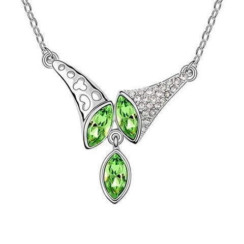 Alvdis Fashion Jewellery Horn Style Sterling Swarovski Crystal Pendant Necklace,