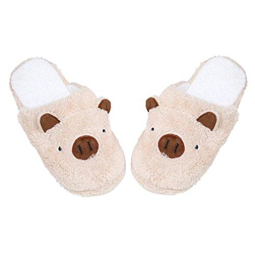 VENMO Damen Slipper Lovely Schwein Home Floor Soft Streifen Hausschuhe Damen Schuhe 36-40 (38, Coffee) (Damen Socken Farbton)