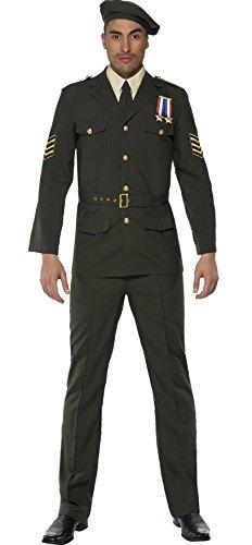 Herren Krieges Officer ersten Weltkrieges 2. Weltkrieg World Krieg Militär Uniform Historical Fancy Kleid Kostüm Outfit M & (Weltkrieg Outfits 2)