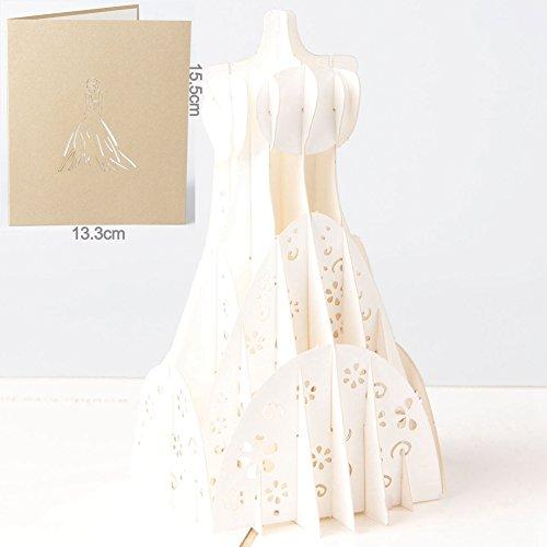 Carta Spiritz Wedding Dress Post Card 3d pop up cartoline con busta taglio laser a mano Miss You Think Of You I Love You biglietti di auguri regalo San Valentino, BIANCO (Confezione da 6)