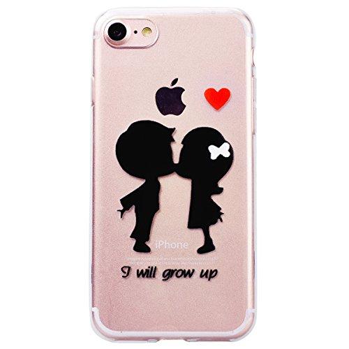 WE LOVE CASE Coque iPhone 7, 3 x Coque Transparente en Premium Gel Coque iPhone 7 Silicone Souple Mince et Clair, Coque de Protection Bumper Gel Fleur Coque Apple iPhone 7 Fleur De Papillon Amour