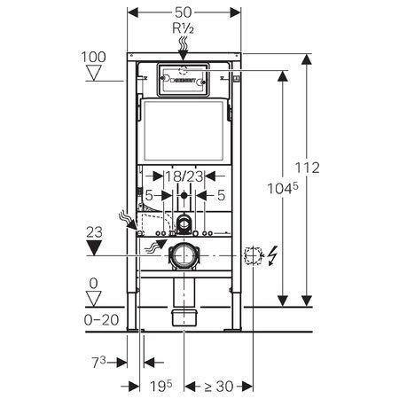 Geberit Duofix Vorwandelement UP 100 + Ideal Standard WC, Spülrandlos mit LotusClean Beschichtung + Absenkautomatik + Delta 21 Drückerplatte + WC Deckel - 5