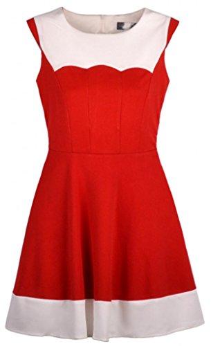 Damen Rundhals aermellos Spleiss-Farbe tailleneng kleid Rot