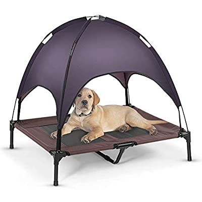 Lv. life Raised Dog Bed with Canopy, Elevated Pet bed Outdoor for Medium and Large Dog/Cat by Exblue