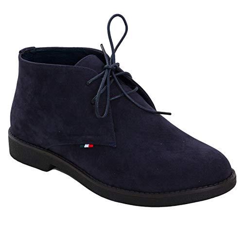Toocool - scarpe uomo stivaletti boots stivali polacchine camoscio eleganti lacci qp5883 [42,blu]