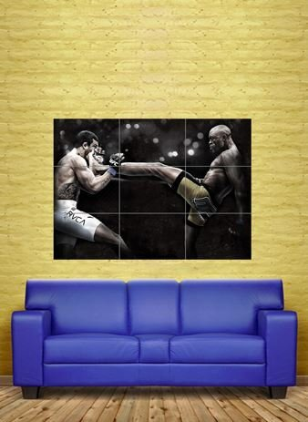 ANDERSON DA SILVA THE SPIDER MIXED MARTIAL ARTS UFC GIANT POSTER PRINT NC6021 by Giant Bean Bag Chairs (Bean Anderson)