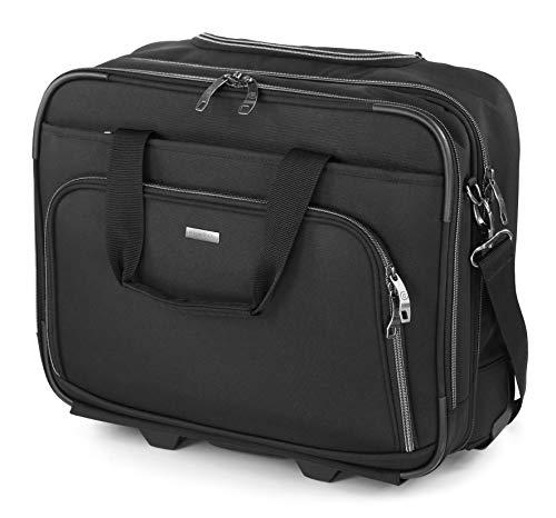 """Bugatti Business Basic Laptop Koffer 15\"""", Handgepäck Trolley mit Rollen, Mobiles Büro 21L aus Nylon, Kleiner Business Rollkoffer mit Gepäckfach und Organisationsfach, Schwarz"""