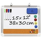 Pizarra Blanca Magnética con Corcho - Tablero de Pared 38x30cm + 1 Borrador Magnético, 4 Rotuladores Borrado en Seco, 4 Imanes y 10 Chinchetas de Colores para Oficina y Cocina