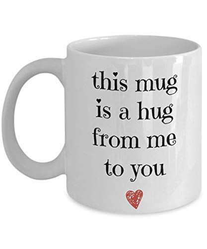 """Tazza in ceramica con scritta in inglese \""""Long Distance Relationship\"""", idea regalo per mamma, papà, figlia, fratello"""