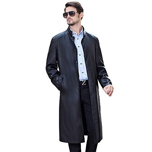 ragen Trenchcoats Schafe Haut Leder Windbreaker Beiläufige Lange Im Freien Schwarze Jacken Slim Fit Mantel,Black-S/Bust108cm ()