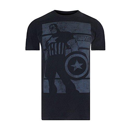Marvel Captain America Bars, Camiseta para Hombre, Negro, X-Large