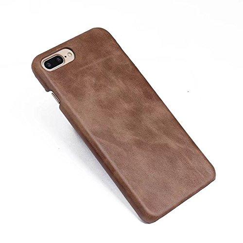EKINHUI Case Cover Retro Frosted Style Premium Echtleder Rücken Abdeckungs Fall für IPhone 7 Plus und 8 Plus ( Color : Gray ) Gray