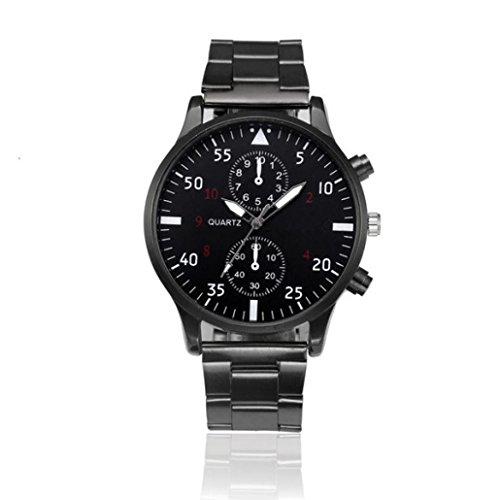 ❤️ Amlaiworld Hommes Mode Montre en acier inoxydable en cristal Montre-bracelet de quartz analogique Bracelet❤️ (1, Noir)