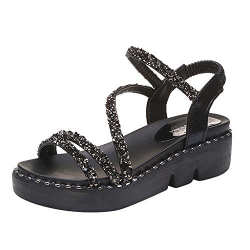 Sandalen Damen,ABsoar Flache Kristall Sandaletten Böhmen Sommerschuhe Mode Bling-Bling Sandalen Peep Toe Freizeitschuhe Stand Party Schuhe (Schwarz, 37) (Bling-nike Schuhe)