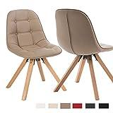 Duhome Elegant Lifestyle 2er Set Esszimmerstuhl aus Kunstleder Cappuccino Farbauswahl Retro Design Stuhl mit Rückenlehne Holzbeine WY-466
