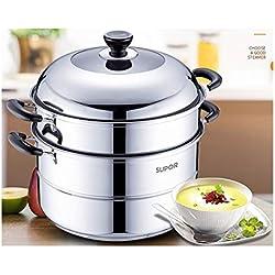 KEHUITONG Réchaud à vapeur en acier inoxydable 304 grand réchaud à gaz domestique double épaisseur 30 / 32cm Cuiseur à vapeur multifonction (Color : Silver, Size : 32cm)