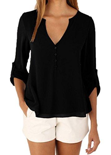 Smile YKK Blouse à Manche Longue T-shirt Femme Col V Chemisier Mousseline de Soie Casual Tendance Noir