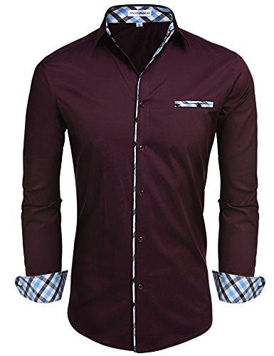 Hotouch uomo camicia rossa vino basic slim fit maniche lunghe di cotone modell m
