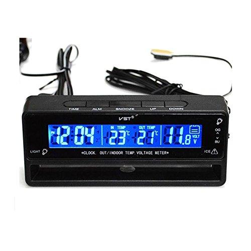 Sharplace Digital LCD Innen Außen Thermometer Temperaturmesser Spannungstester Voltmeter Auto Uhr Schwarz