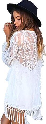 DDLBiz® Sexy Frauen sehen durch Lace Kimono Cardigan Shirt Quasten