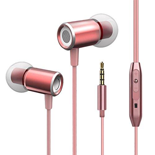 Tefamore Auriculares De 3.5mm In-Ear MIC Auricular Estéreo Del Receptor De Cabeza (Oro rosa)