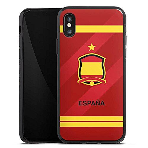 Apple iPhone X Silikon Hülle Case Schutzhülle spanien fussball fußball Silikon Case schwarz