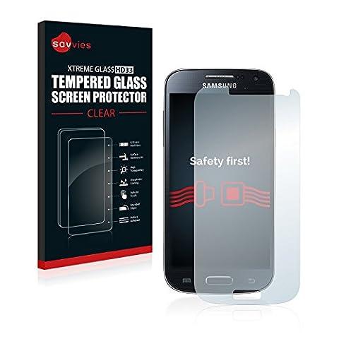 Savvies Panzerglas für Samsung Galaxy S4 Mini LTE (4G) I9195 Glasfolie Panzerfolie Schutzfolie - Klar, 9H Hartglas