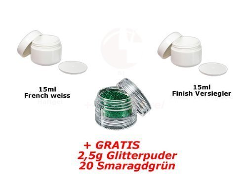 15ml Français Blanc + 15ml FINITION + glitterpuder 20 GRATUIT