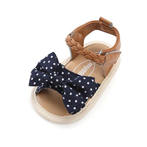 Ateeny sandali di neonata tela bowknot scarpine primi passi di bambina anti-scivolo estate (0-6 mesi, marina militare)