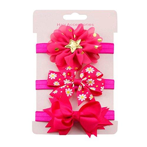 erthome Baby Haarnadel, Kinder elastisches Blumen Stirnband Haar Mädchen Baby Bowknot Haarband Set 3Pcs (Pink)