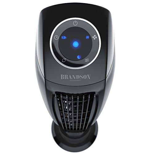 BRANDSON Turmventilator mit Fernbedinung 86,5 cm | Säulenventilator inkl. Oszillation | 60W | 3 Geschwindigkeitsstufen (LOW/MEDIUM/HIGH) + Timer | LED-Display | leises Betriebsgeräusch | schwarz