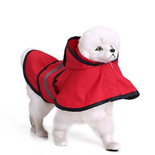 Imperméable pour chien, Imperméable Réfléchissant Pet Vêtements Velcro Auto-réglant Ceinture Grand Chien En Plein Air Sport Imperméable 4 Couleur et 8 Taille ( Color : Red , Size : XL )