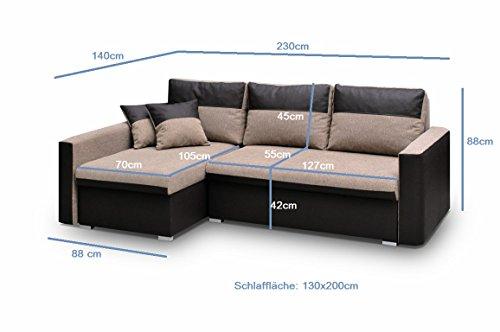 Ecksofa Sofa Eckcouch Couch mit Schlaffunktion und zwei Bettkasten Ottomane L-Form Schlafsofa Bettsofa Polstergarnitur Wohnlandschaft - BERLIN (Ecksofa Rechts, Braun) - 3