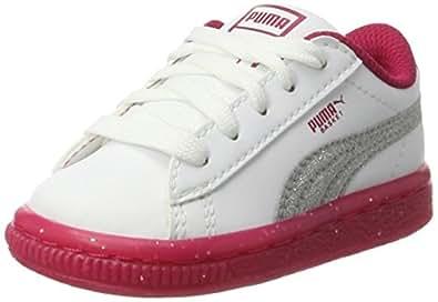 Puma Unisex-Kinder Basket Iced Glitter 2 Inf Sneaker, Weiß (White-Smoky Grape), 25 EU