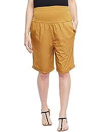 Oxolloxo Solid Mustard Maternity Shorts