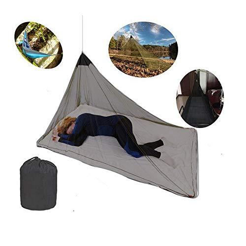 HI SUYI Moskitonetz für Einzelbett, Camping, Bettdecke, Hochdichtes Netz für Reisen, Camping, Angeln, Wandern, mit 4 Klammern und Einer Tragetasche (Farbe: Schwarz) (Schwarze Bettdecke Bett In Einem Beutel)