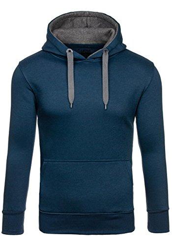 BOLF Herren Kapuzenpullover Sweatjacke Sweatshirt Hoodie Pullover Mix 1A1 Pulli Dunkelblau-Dunkelgrau_2075-4