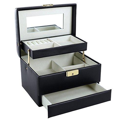 SONGMICS Schmuckkasten,Schmuckkästchen abschließbar 3 Ebenen mit Schubladen Spiegel, Schwarz JBC134B