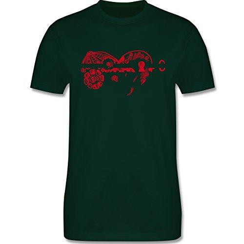 Valentinstag - Schlüssel zum Herzen - Herren Premium T-Shirt Dunkelgrün