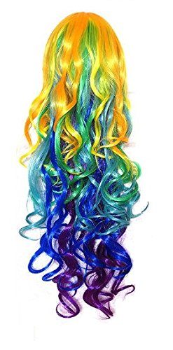 Zacharias IPL Rainbow Long Curly Hair Wig New Fashinable Long Rainbow Rock Spring Bouquet Cosplay Girls Party Wig  available at amazon for Rs.199