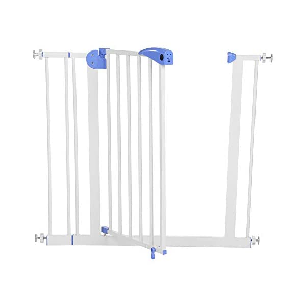 Baby Children Safety Gate Door Auto Close Swing Shut Stair Fence Pet Protection High and Wide Pressure Fit Safety Gate Ideal None Screw Stable and Durable Protective Safety Gate for Babies or Pets Ejoyous ღ Auto Close Double Lock 100% Safe ღ This Safety Gate Door adopt double lock and auto close design. There are 2 locks separately located on the top and bottom of the gate, which makes sure that your kids won't accidentally open it and get out. Besides the auto close design also buy you an insurance for careless forgetting to close it. Also it can locate 90 ° normally open, very convenient for long time in and out. These triple protection let your baby totally free from danger ღ Pressure Fit Set Easy Assemble ღ There is no need of any drilling work. The 4 pressure point will let the Safety Gate be firmly and stably fixed on the wall. Extremely easy to get the assemble job done or disassemble to move it to any place else ღ 85-94cm Wide High Versatility ღ The original wide(81 cm) plus extension accessories (10 cm) makes a total 91 cm wide along with the extension pressure point can let the gate be set at 85-94cm doorways, hallway or stairway (the most common wide of house design). You are free to choose using extension accessories or not 1