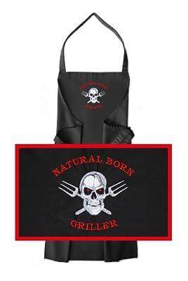 Schürze / Grillschürze Motiv Natural Born Griller, Schürzenfarbe schwarz, hochwertig bestickt, Schürze / Kochschürze