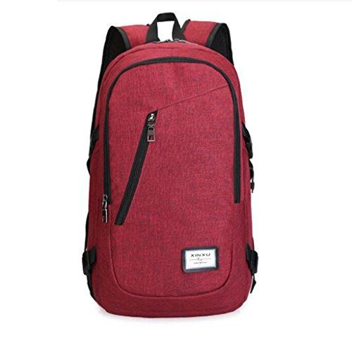 Suzone multifunzionale zaino Business laptop con porta USB di ricarica per esterni viaggi escursioni borsa a tracolla, donna Uomo, Grey Red