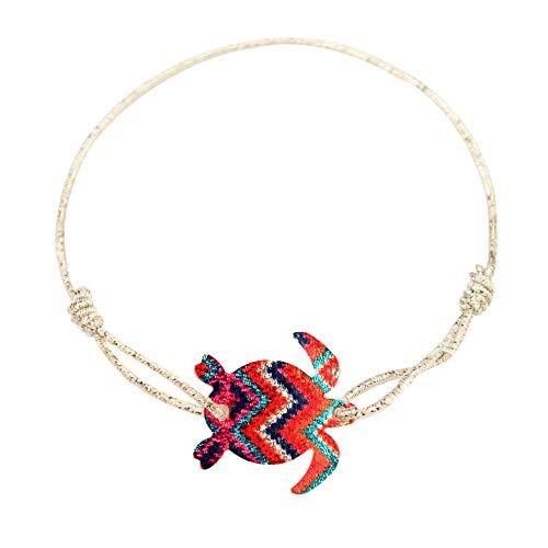 Made by Nami Fußkettchen Damen Fußkette Fusskettchen Boho Ethno Bunt Fusskette Fußband Festival Schildkröte (Bunt)