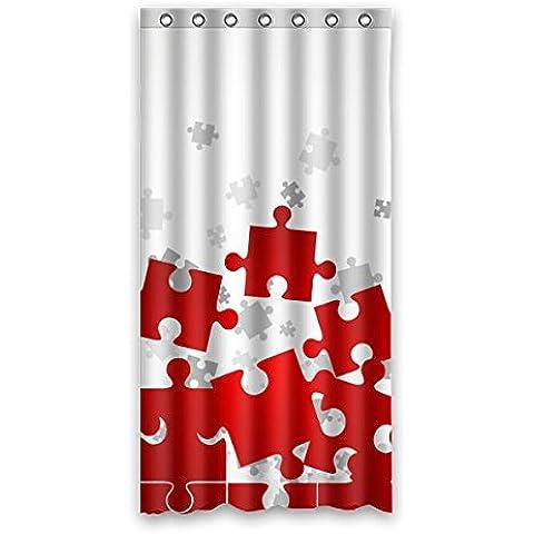Fondo di puzzle di rosso/grigio Tenda Doccia Materiale durevole/Impermeabile, Poliestere,