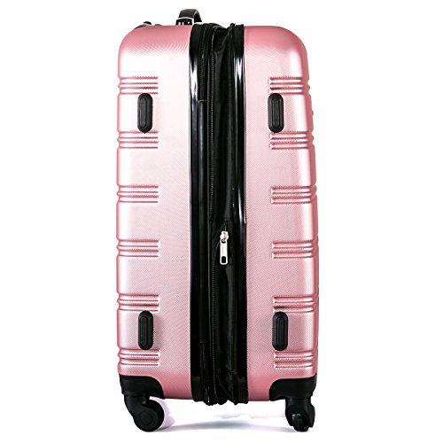 Flieks Hartschalen Handgepäck Reisekoffer Trolley Koffer mit 4 Rollen und Zahlenschloss, XL-L-M(L, Pink) - 6