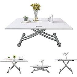 Jeffordoutlet Table Basse Pliable Multifonction rectangulaire réglable et Extensible Table de Salle à Manger Bureau d'ordinateur Moderne créatif Blanc Salon Cuisine Mobilier d'extérieur - Blanc